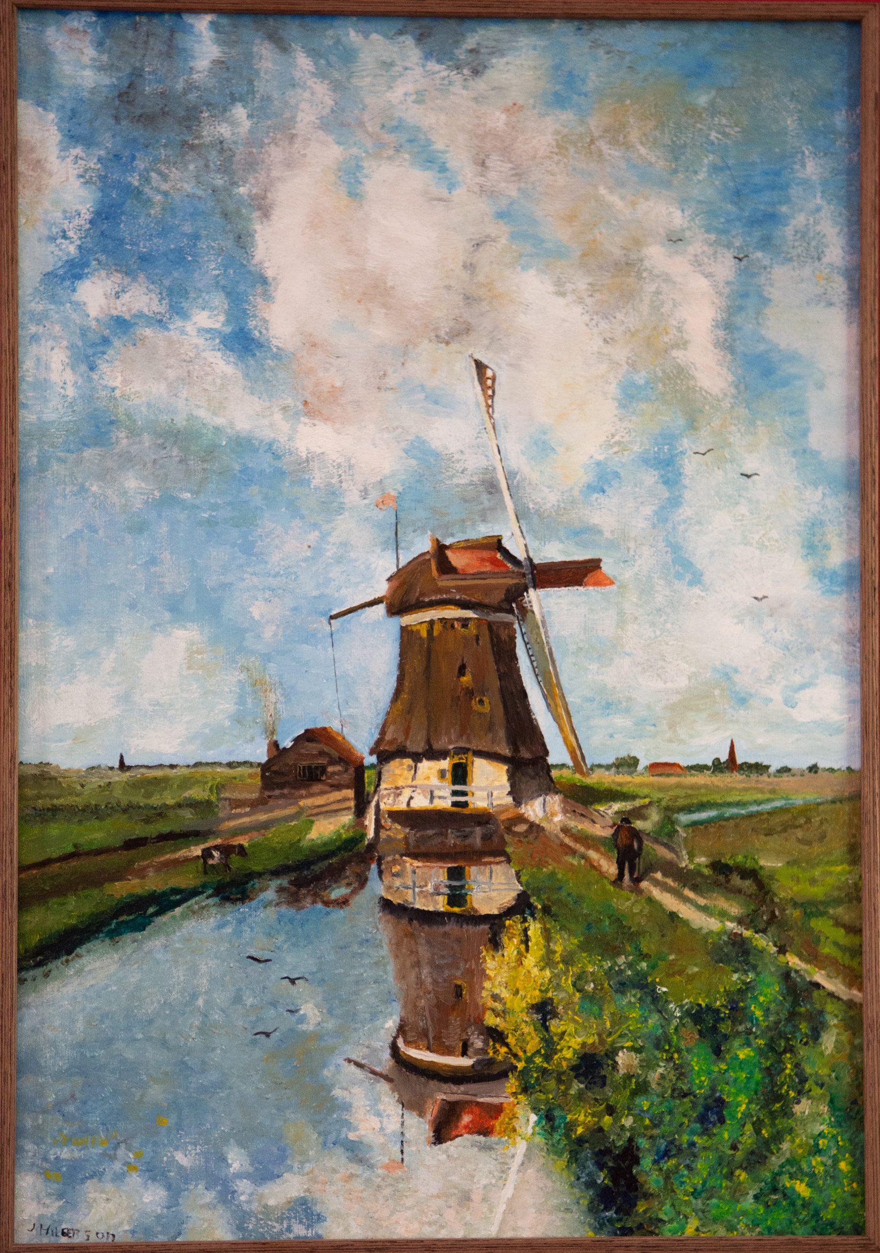 """Een molen aan een poldervaart, bekend als """"In de maand juli"""" 1889 Van Joseph Constatin Gabriel (2015)"""