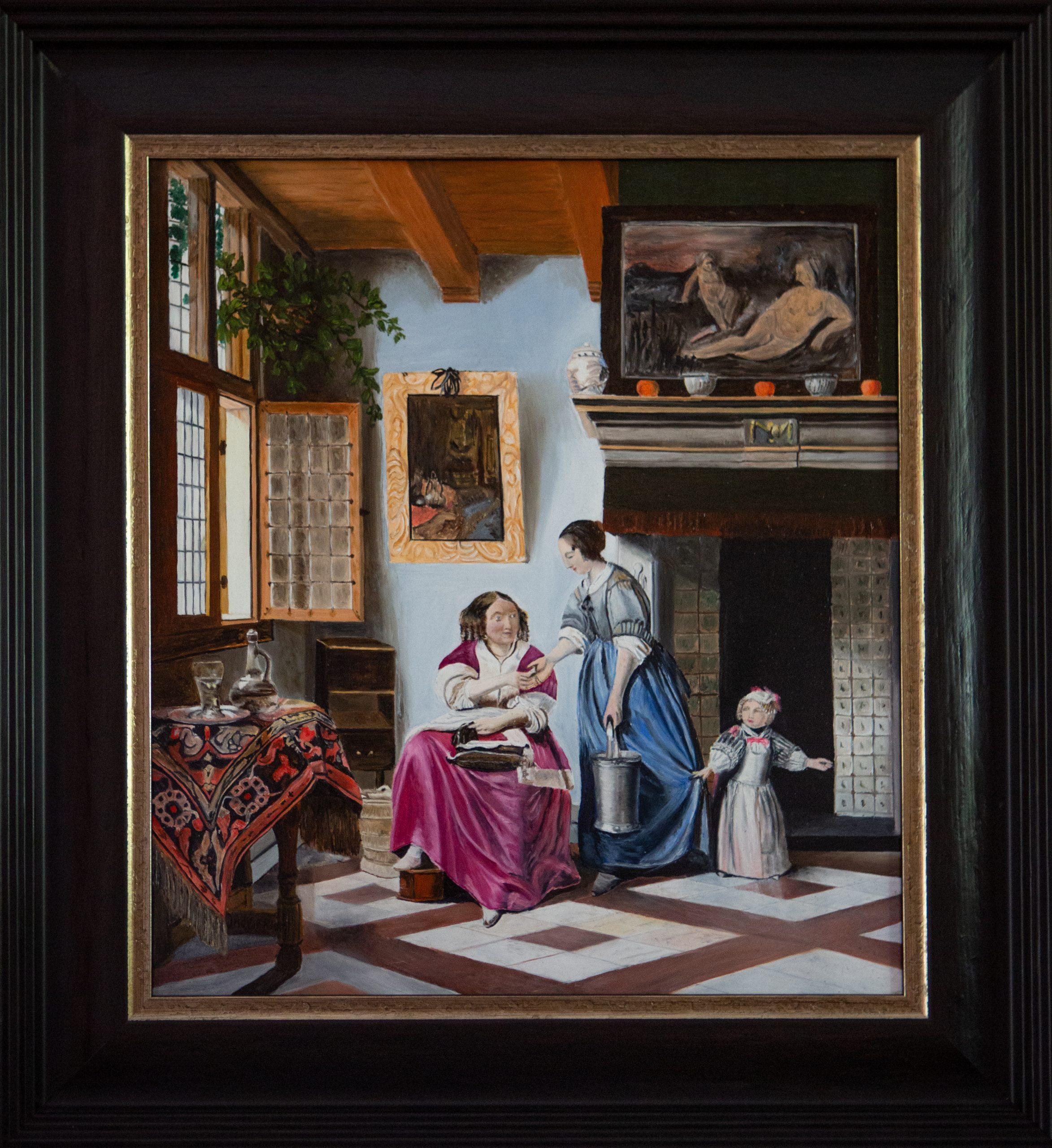 Interieur met een jonge vrouw die een dienstmeid een muntstuk geeft 1668 Pieter de Hooch (2019)
