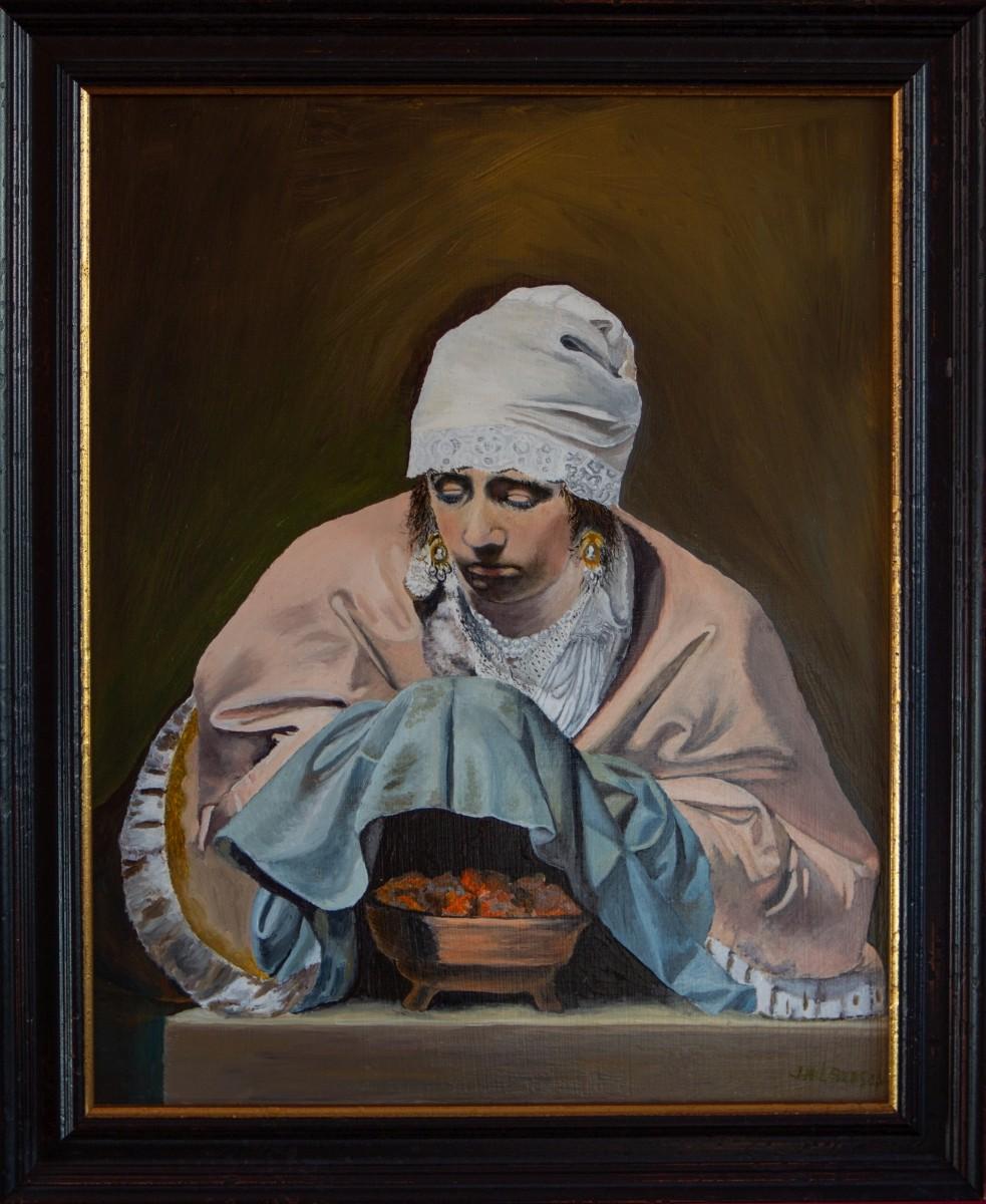 Jonge vrouw warmt haar handen boven een vuurtest, Alegorie op de Winter 1644 van Caesar Boetius van Everdingen (2015)