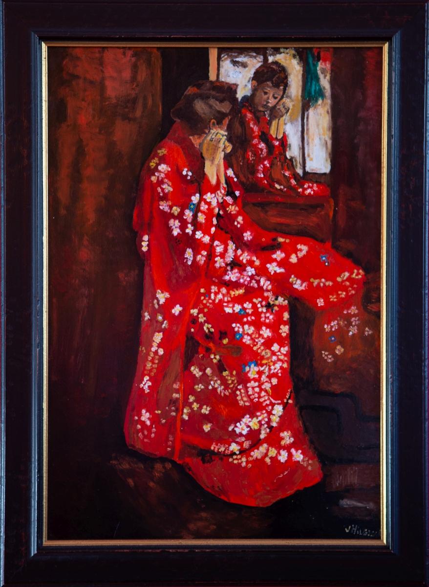 Meisje in de rode kimono voor spiegel 1893 van Van George Hendrik Breitner (2014)
