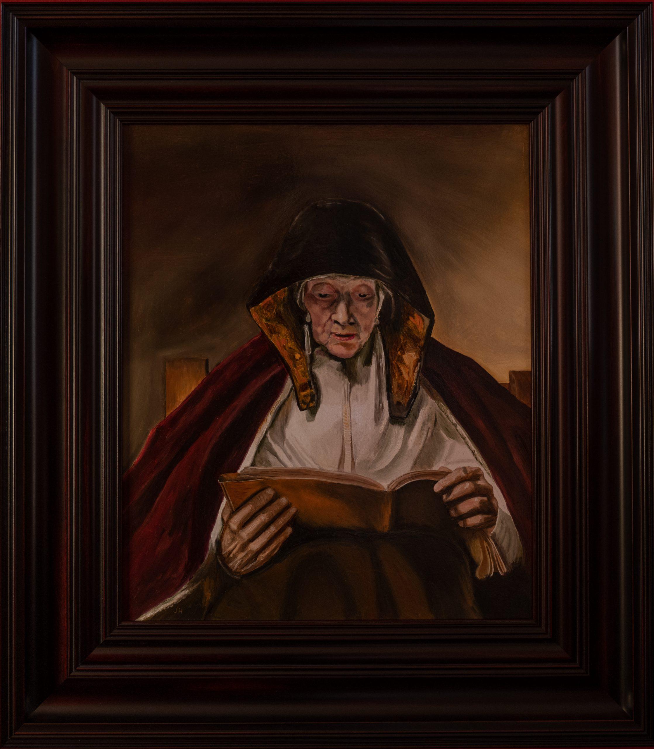 Lezende oude vrouw van Rembrandt van Rijn 1665